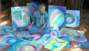 Barbara with paintings